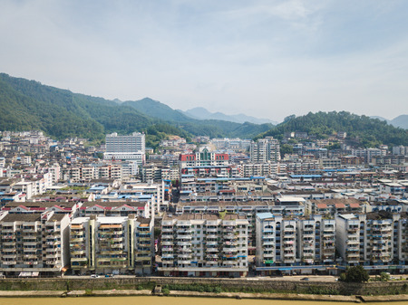 Aerial photography of rural landscape, urban landscape of Youxi County, Sanming City Stock Photo - 120683404