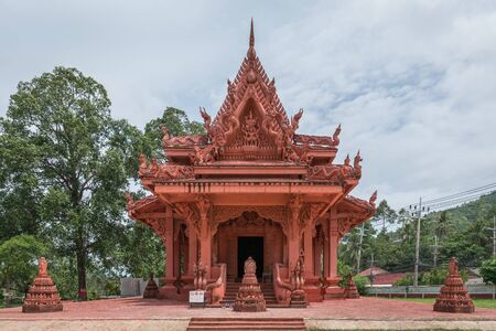 The famous Red Church in Siranu Temple, Koh Samui