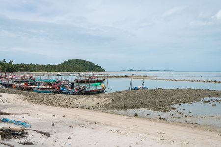 Beach and fishing boat on the island of Koh Samui, Thailand