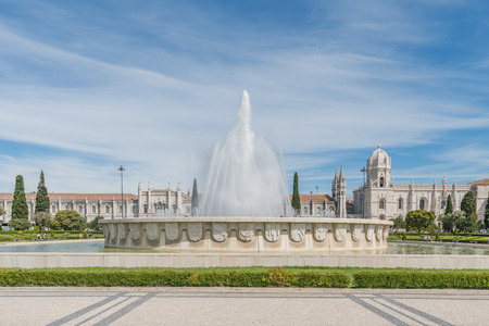 Lisbon Jeronimos Monastery Square and Fountain Stockfoto - 128407081