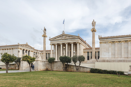 Ancient Greek style architecture of the Athens city of Greece, exterior view of the Academy of Athens