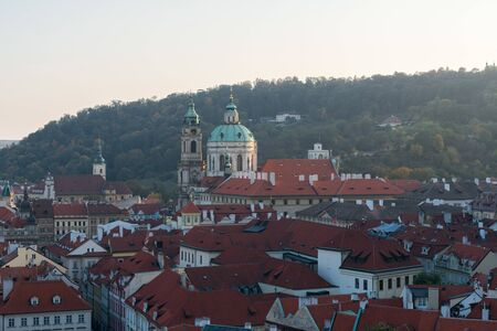 Top view of old town, red roofs and ancient building skyline in Prague, Czech republic 版權商用圖片