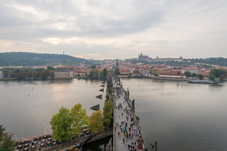 Sunset landscapes of Charles Bridge and the cityscapes with Prague Castle, Prague, Czech Republic