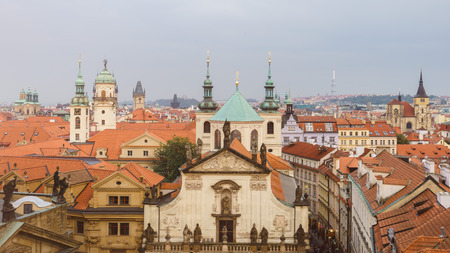 Top view of old town, red roofs skyline in Prague, Czech republic