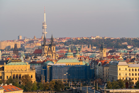 Top view of old town, red roofs and ancient building of Church of Mother of God before Tyn, skyline in Prague, Czech republic