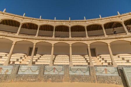 The architecture in the Plaza de Toros de Ronda, Ancient famous bullring in Ronda