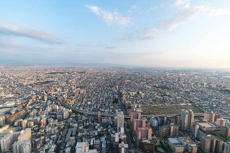 Cityscapes of the skyline in Osaka, Japan 版權商用圖片 - 138201760