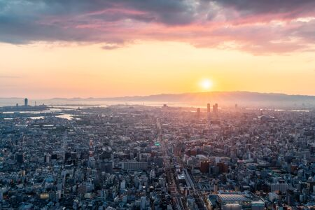 Skyline in Osaka, Sunset view of the Cityscapes