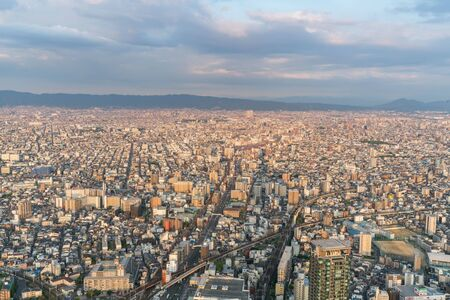 Cityscapes of the skyline in Osaka, Japan 新聞圖片