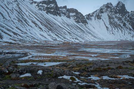 Viking Village nearby the Stokksnes, the Vesturhorn mountain in winter