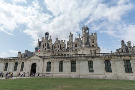 Building architecture details and the garden in Chambord Castle (Chateau Chambord), the largest castle in the Loire Valley. A UNESCO world heritage site in France