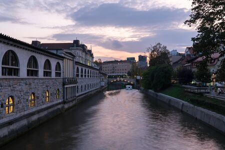 Landscapes of the canal and famous landmarks in Ljubljana city center in night