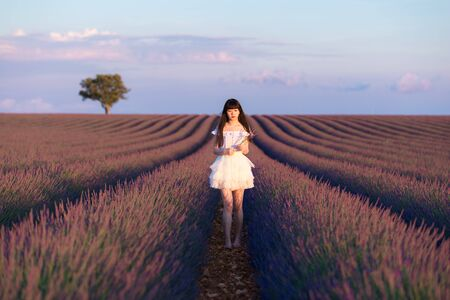 Young Chinese woman in white traditional dress, walking in lavender field. Plateau de Valensole, Alpes-de-Haute-Provence, Provence-Alpes-C?te d'Azur, France, Europe