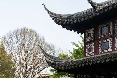 Landscape, window and door architecture, old building structure in Lingering Garden, a classical Chinese garden in Suzhou, China Stock Photo