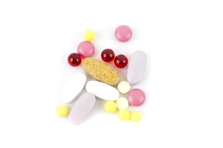 antibiotic pink pill: multicolored pills