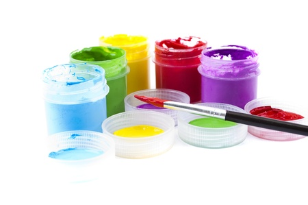 multicolored paint in open banks photo