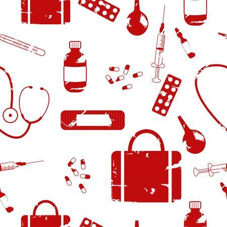 Seamless pattern medical supplies vector
