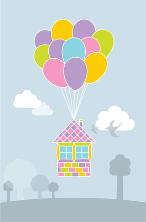 flying balloon: Flying balloon house in landscape illustration Illustration