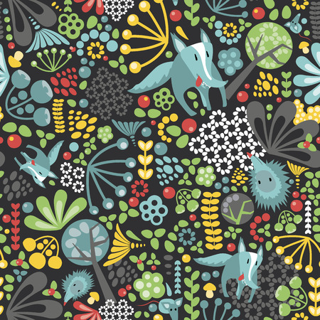 haze: Forest animal seamless repeating pattern