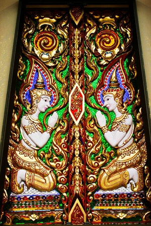 the beauty thai art at window of thai tample Stock Photo - 10023505