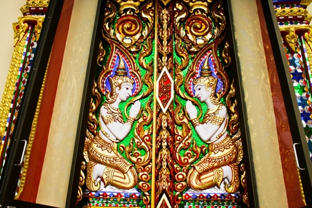 the beauty thai art at window of thai tample Stock Photo - 10023503