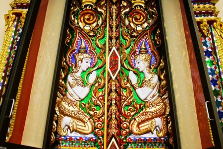 the beauty thai art at window of thai tample