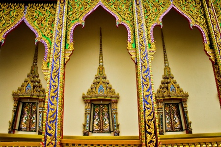 three golden window of thai tample