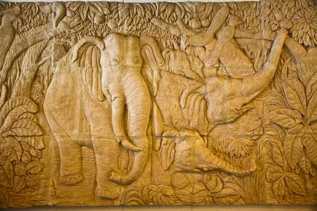 bas relief: Ce bas relief de elephan