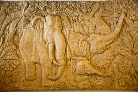 low relief: This low relief of elephan Stock Photo