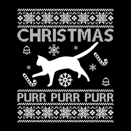 Christmas Purr Purr Purr, Typography Christmas Pattern Design, Vector Illustration