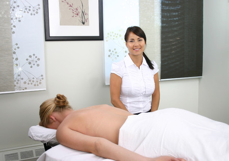 therapist & client in salon ready for massage