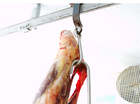 Meat hooks for hanging meat in cooler Stock Photo