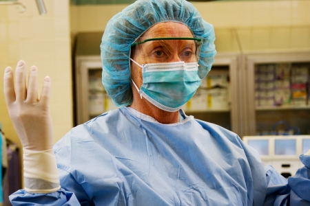 Profile of Operating Room Nurse Stock Photo
