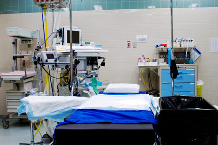 Operating theatre in hospital ready for patient Stock Photo