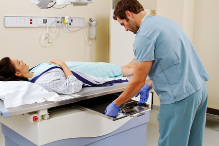 Patient laying on x-ray table