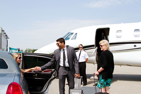 Diva arrives at private jet in limo with chauffeur