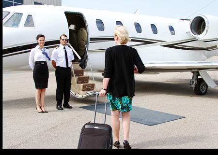 Passenger about to enter jet plane