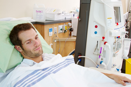 Patient to have renal dialysis at hospital Stock Photo