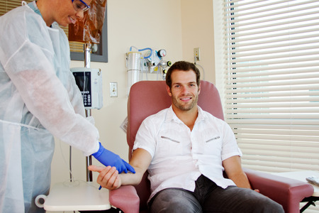 hospital patient: Patient receiving chemotherapy in hospital