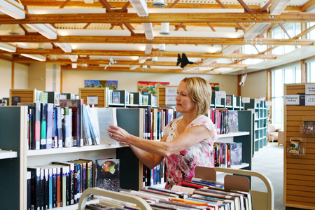 Librarian replacing books that have been borrowed