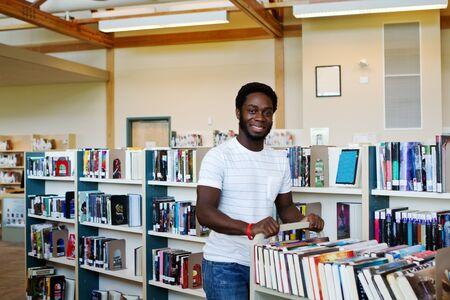 public library: Library employee returning books to their shelf