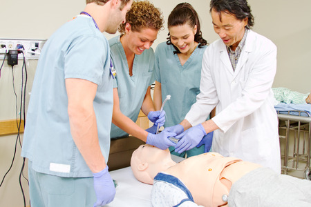 intubation: Medical staff being taught intubation