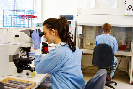 Laboratory staff in microbiology portion of lab checking specimens