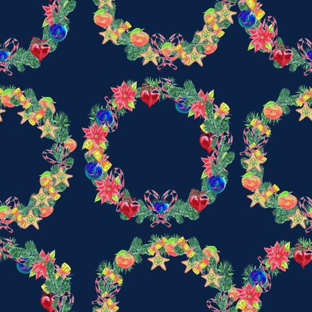 xmass: Seamless pattern. Watercolor Christmas Wreath. Xmass decoration.