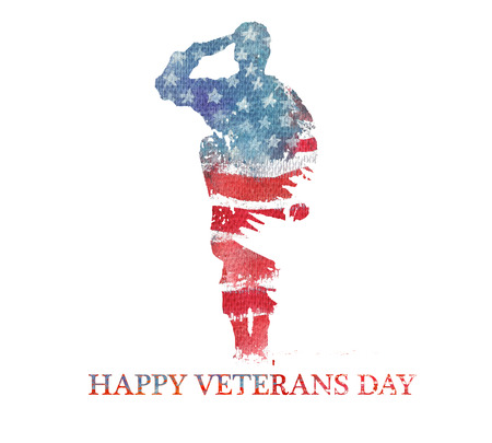 Waterverf illustration.Vegterans dag. Amerika, VS vlag. Tekst Gelukkige Veteranen Dag.
