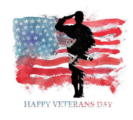 Watercolor illustration.Vegterans day. America, USA flag. Text Happy Veterans Day.