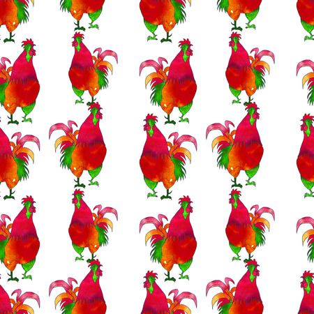 Watercolor  Rooster. illustration with splash watercolor textured background. 2017 is the year of Red Fire Chicken on Chinese zodiac. Seamless pattern.