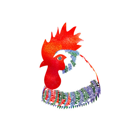 pet breeding: Watercolor  Rooster. illustration with splash watercolor textured background. 2017 is the year of Red Fire Chicken on Chinese zodiac. Stock Photo