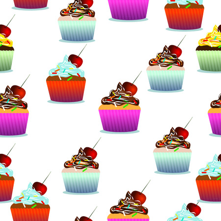 card making: Vector seamless pattern. Pastry, cute cupcakes, lollipops. White background. Can use them for your design, in prints, card making, blogs, website, postcards or even for printing on fabrics.