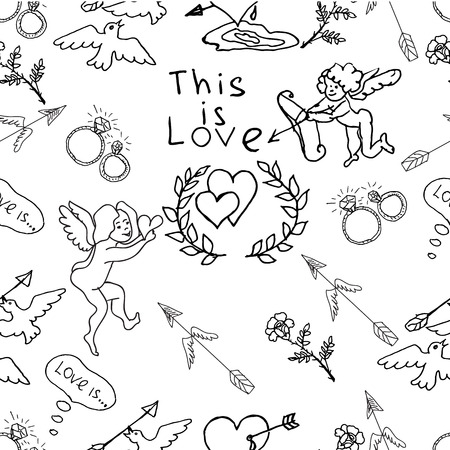 diamond rings: Hand drawn vector seamless pattern. Cute wedding theme. Angels, hearts, arrows, flowers, diamond  rings, pigeons, hand written phrase this is love. Stock Photo